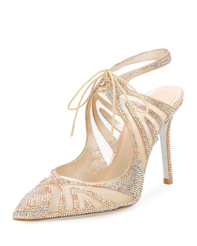 f15e73d7753 Rene Caovilla Crystal-Embellished Tie-Front Pump