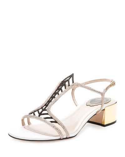Jewel-Embellished Block-Heel Sandal, Beige/Black