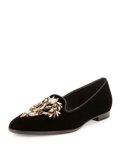 Crystal-Embellished Velvet Loafer, Black