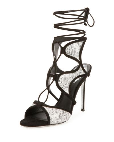 Crystal-Embellished Suede Ankle-Wrap Sandal, Black/Chrome