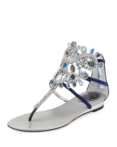 Crystal-Chandelier Flat Thong Sandal, Blue