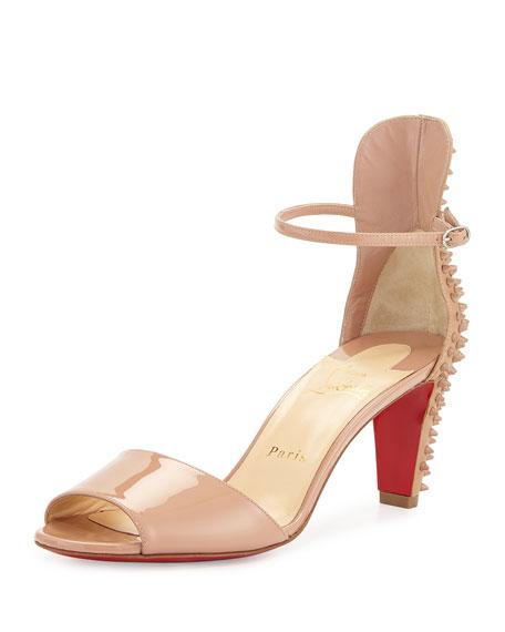 Christian Louboutin Trezanita Spiked-Heel Red Sole Sandal, Nude