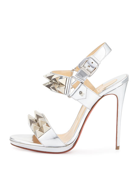 purchase cheap 863e6 badf3 Miziggoo Spiked Two-Band Red Sole Sandal Silver