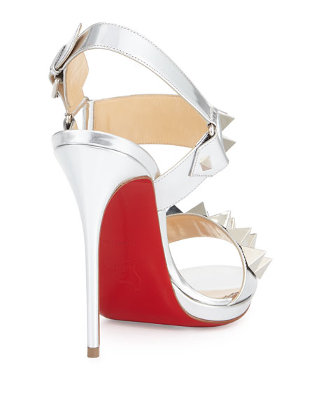 01260ed433e Miziggoo Spiked Two-Band Red Sole Sandal Silver
