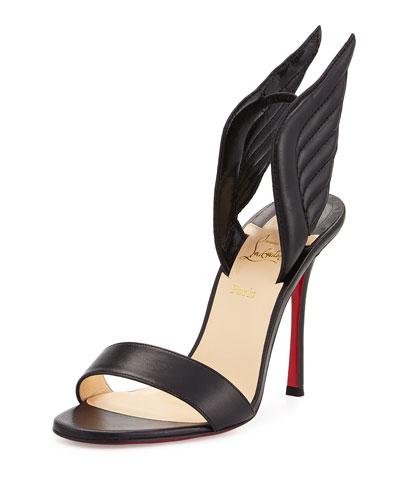 Samotresse Wings Red Sole Sandal, Black