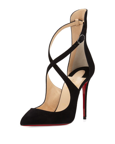 Marlenarock Crisscross Suede Red Sole Pump, Black