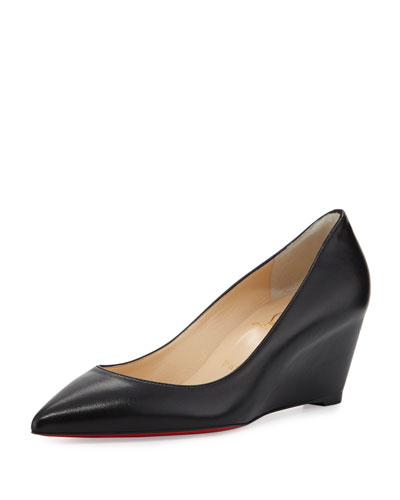 Pipina Leather 55mm Wedge Red Sole Pump, Black