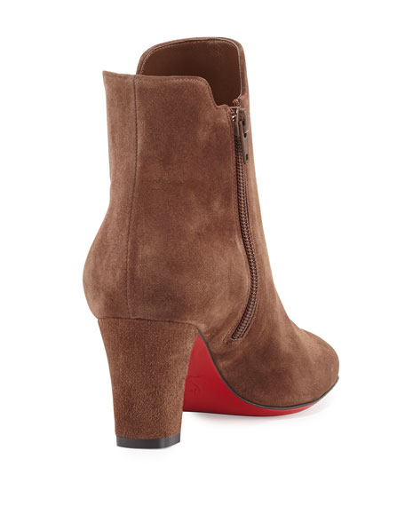 Tiagadaboot Suede 70mm Red Sole Bootie, Chatain Brown