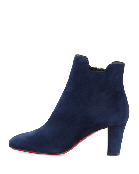 Tiagadaboot Suede 70mm Red Sole Bootie, Night