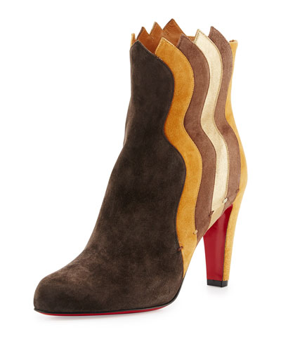 Wavy Colorblock Suede Red Sole Boot, Chatain/Multi