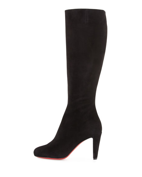 Babefifa Suede 85mm Red Sole Knee Boot, Black