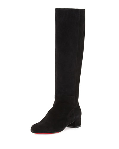 Liliboot Suede 30mm Red Sole Knee Boot, Black