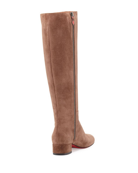 Lili Suede 30mm Red Sole Knee Boot, Chatain Brown