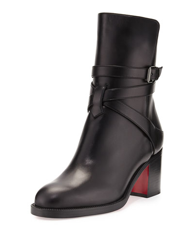 Karistrap Leather 70mm Red Sole Ankle Boot, Black