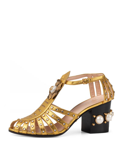 Kendell Pearly Metallic Mid-Heel Sandal, Gold