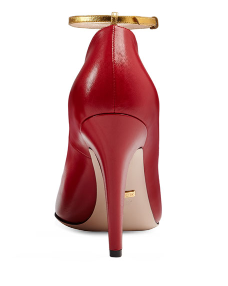 Molina Lips T-Strap Pump, Red