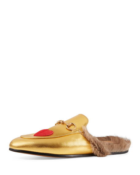 782b1a6086f Gucci Princetown Fur-Lined Metallic Leather Mule