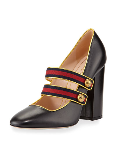 Carly Mary Jane Leather Pump, Black/Gold