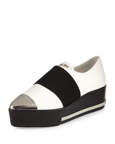 Metallic Cap-Toe Leather Sneaker, White (Bianco)