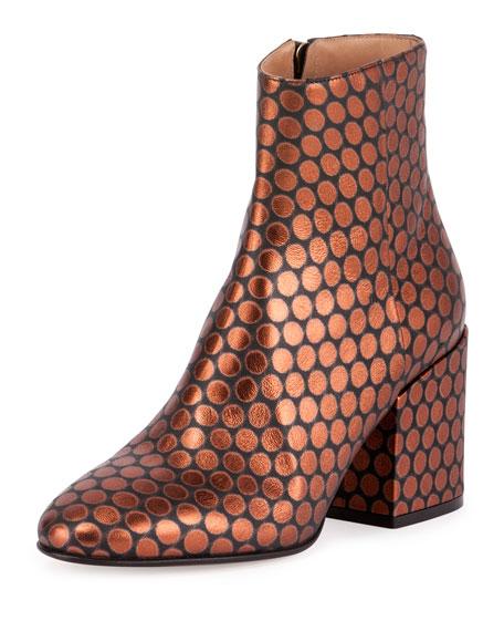 Dries Van Noten Circle-Print Leather 80mm Boot, Black/Orange