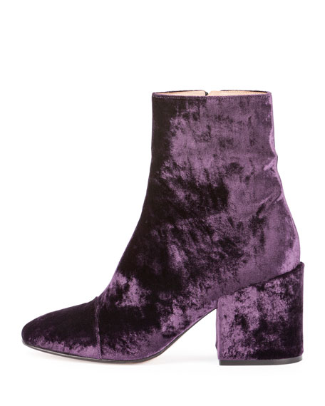 Dries Van Noten Crushed Velvet 80mm Ankle Boot, Purple