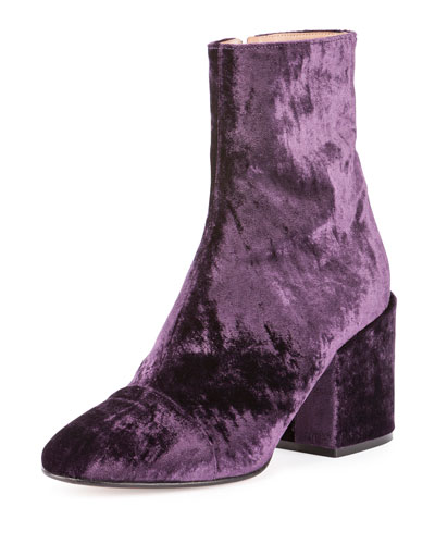 Crushed Velvet 80mm Ankle Boot, Purple