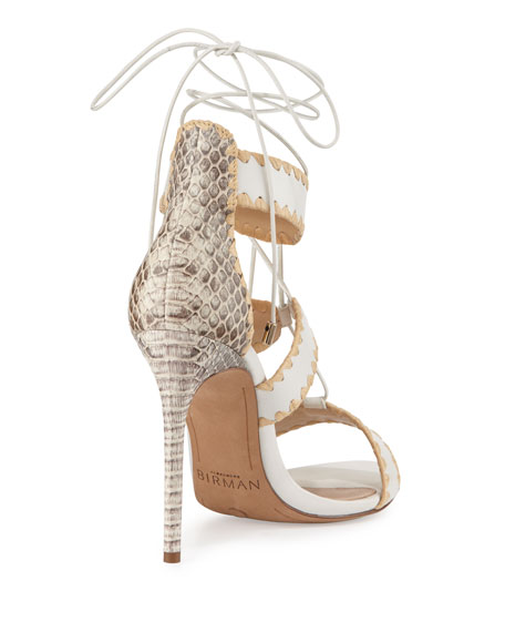 Bel Snakeskin & Leather Lace-Up Sandal, White/Natural