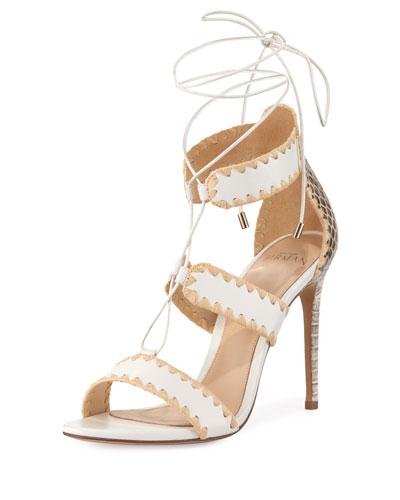 Bel Snakeskin & Leather Lace-Up Sandal, White/Natural