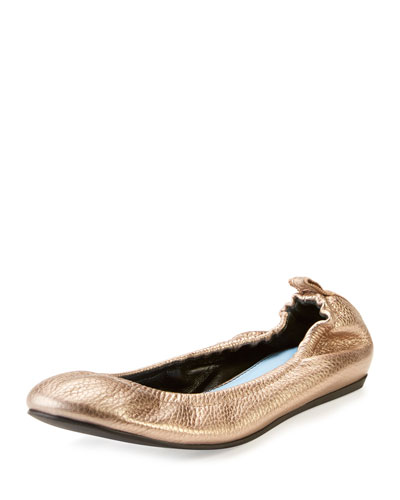 Crackled Metallic Leather Ballerina Flat, Bronze