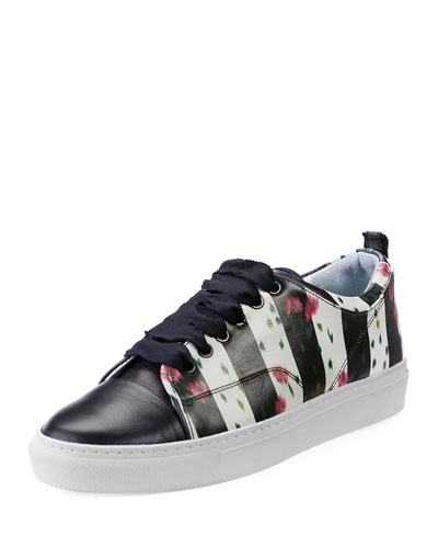 Floral-Print Leather Low-Top Sneaker, Black/White