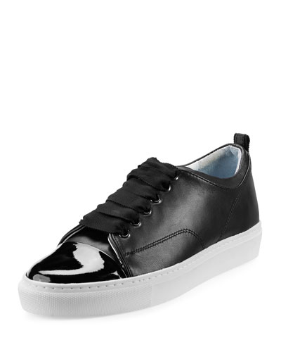 Patent Leather Cap-Toe Low-Top Sneaker, Black