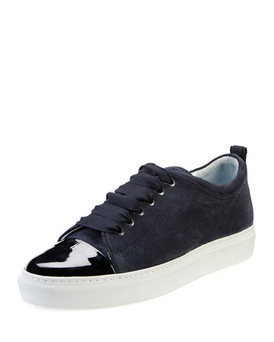 Cap-Toe Suede Low-Top Sneaker, Dark Blue
