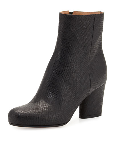 Shimmer-Embossed Leather Ankle Boot, Black