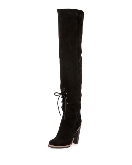 Suede Lace-Front 100mm Tall Boots, Black