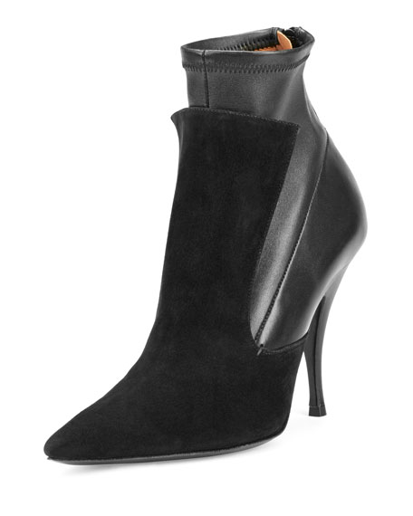 Givenchy Kali Stretch-Leather & Suede Boot, Black