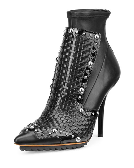 Givenchy Iron Line Basketweave Leather Boot, Black
