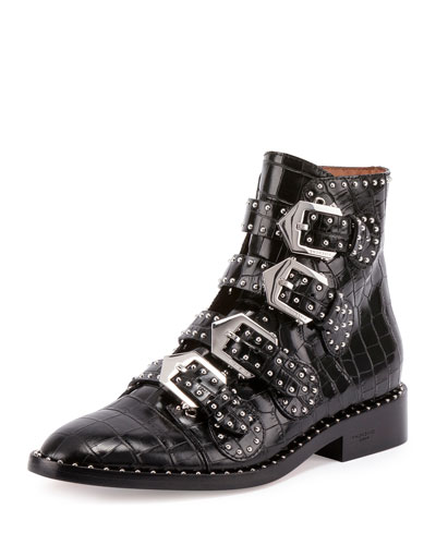Elegant Studded Croc-Print Boot, Black