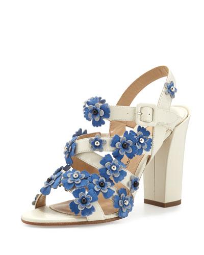 Lotus Floral Crisscross Sandal, White/Blue/Quartz