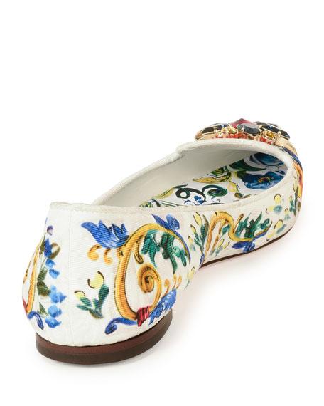 Jewel-Embellished Printed Canvas Skimmer, Multi