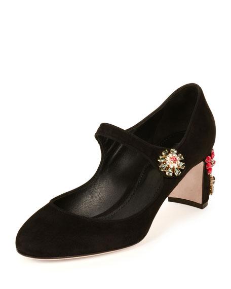 Suede Jewel-Embellished Mary Jane Pump, Black