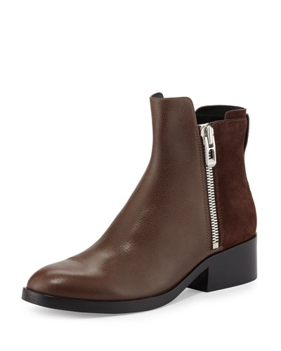 Alexa Zip Leather Ankle Bootie, Chocolate/Espresso