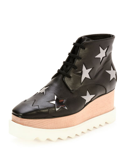 Elyse Stars Faux-Leather Platform Boot, Black/Zinc