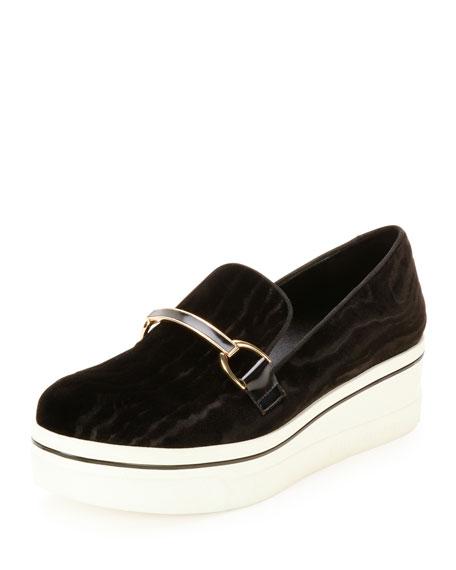 Binx Velvet Bit-Strap Loafer, Black