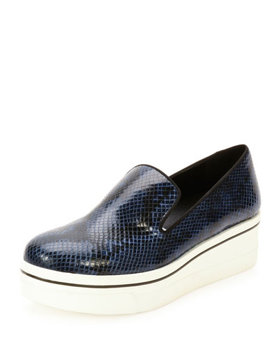 Binx Snake-Print Platform Sneaker, Denim/Black