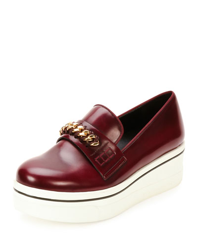 Binx Faux Leather Chain-Strap Loafer, Cordovan/Cornelia
