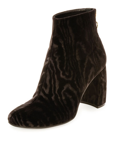 Textured Velvet Block-Heel Boot, Black