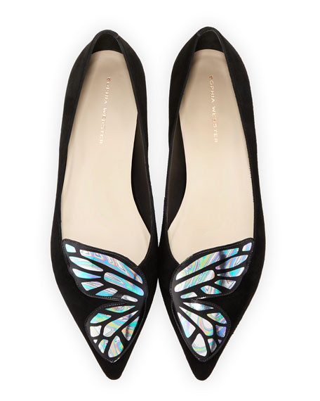 Watercolor Bibi Wing Flat, Black/Multi