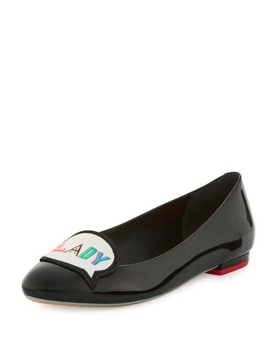 Boss Lady Leather Flat, Black