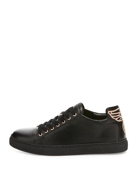 Bibi Butterfly Leather Low-Top Sneaker, Black