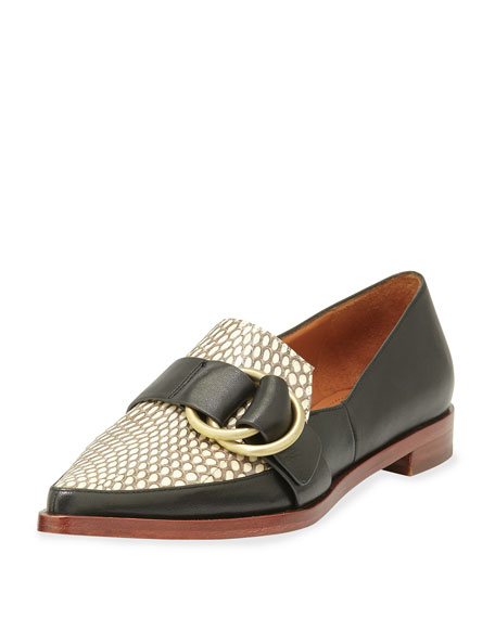 Agatha Snakeskin/Leather Buckle Loafer, Black/Natural